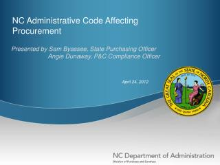 NC Administrative Code Affecting Procurement