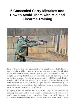 5 Concealed Carry Mistakes and How to Avoid Them with Midland Firearms Training