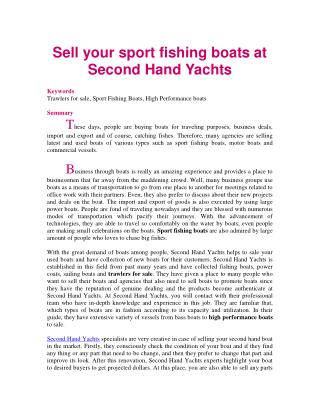 Sell your sport fishing boats at Second Hand Yachts