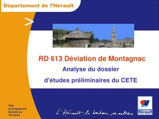 RD 613 D viation de Montagnac