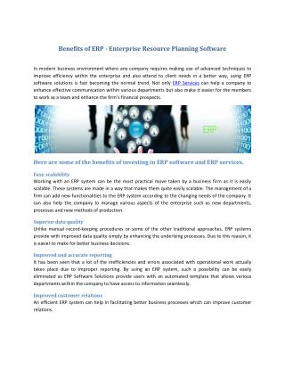 Benefits of ERP - Enterprise Resource Planning Software
