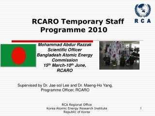 RCARO Temporary Staff Programme 2010