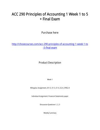 ACC 290 Principles of Accounting 1 Week 1 to 5   Final Exam