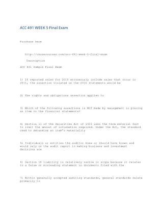 ACC 491 WEEK 5 Final Exam