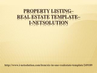 Property Listing - Real Estate Template –i-Netsolution