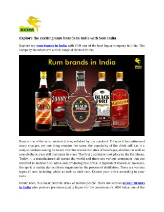 Explore the Exciting Rum brands in India with Som India