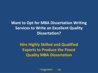 MBA Dissertation Writing Services UK