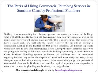 The Perks of Hiring Plumbing Sunshine CoastCommercial Plumbing Services in Sunshine Coast by Professional Plumbers