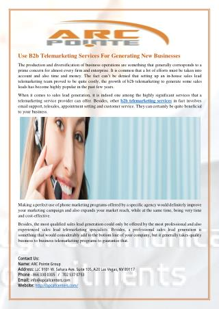 Use B2b Telemarketing Services For Generating New Businesses