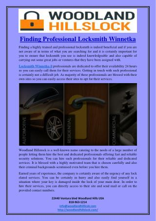 Finding Professional Locksmith Winnetka