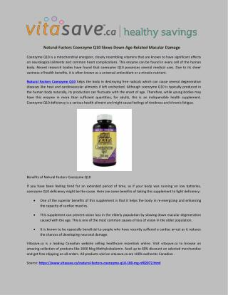 Natural Factors Coenzyme Q10 Slows Down Age Related Macular Damage
