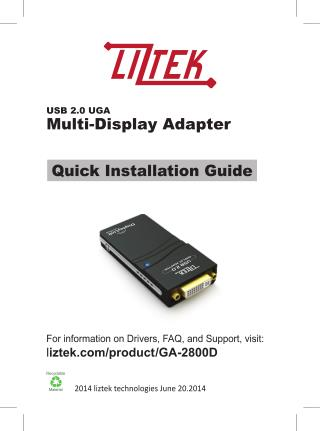 Liztek GA-2800D USB 2.0 to VGA / DVI / HDMI Video Graphics Adapter Card for Multiple Monitors