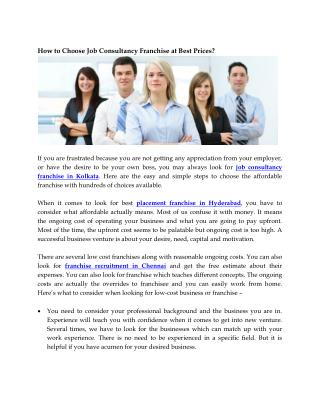 How to choose job consultancy franchise at best prices