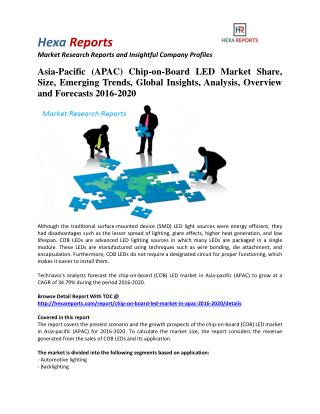 Asia-Pacific Chip-on-Board LED Market Share, Industry Trends And Outlook 2016-2020: Hexa Reports