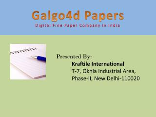 Short brief of Digital Print Paper � Galgo4d Papers