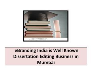 eBranding India is Well Known Dissertation Editing Business in Mumbai