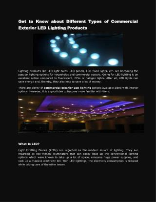 Get to Know about Different Types of Commercial Exterior LED Lighting Products