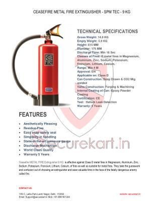 Features of Metal Fire Extinguisher SPM-TEC 9 KG