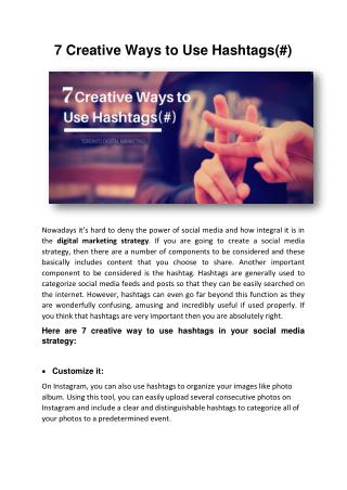 7 Creative Ways to Use Hashtags(#)