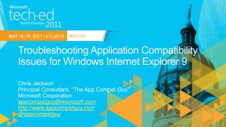 Troubleshooting Application Compatibility Issues for Windows Internet Explorer 9