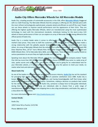 Audio City Offers Mercedes Wheels for All Mercedes Models