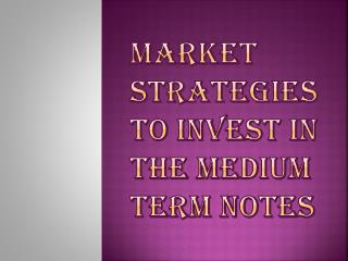 Medium Term Notes Investment Strategies