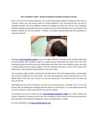 Hair Transplant in Delhi – Benign & Expedient Technique to Restore Lost Hair