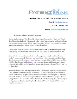 University Hospitals Chooses PatientTrak
