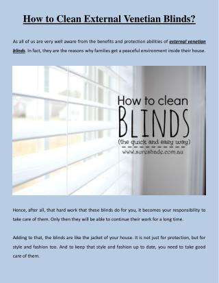 How to Clean External Venetian Blinds?