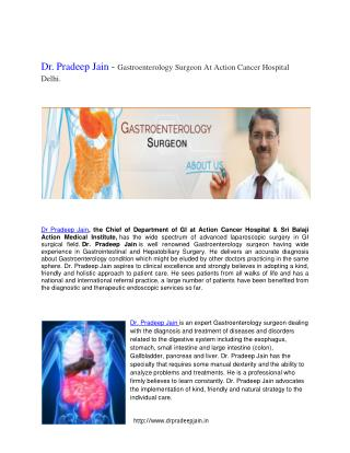 Dr Pradeep Jain - Best GI Cancer Surgeon In Delhi