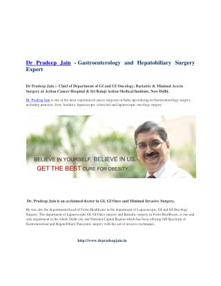 Dr Pradeep Jain - Chief Of Dept. of GI At Action Cancer Hospital