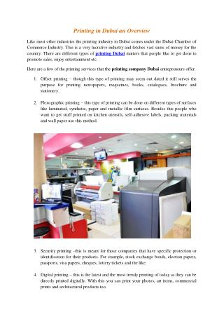 Printing in Dubai an Overview
