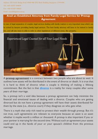 Avail an Established Attorney from Family Legal Service for Prenup Agreement