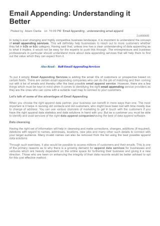 Email Appending-Understanding Better