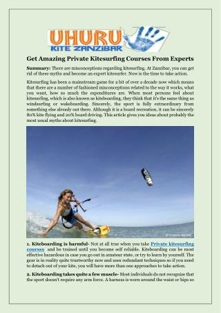 Get Amazing Private Kitesurfing Courses From Experts