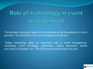 Role of technology in event management