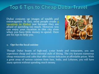 Top 6 Tips to Cheap Dubai Travel