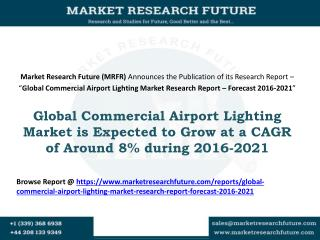Global Commercial Airport Lighting Market is Expected to Grow at a CAGR of Around 8% during 2016-2021