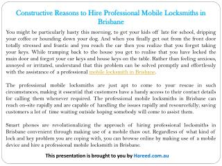 Constructive Reasons to Hire Professional Mobile Locksmiths in Brisbane
