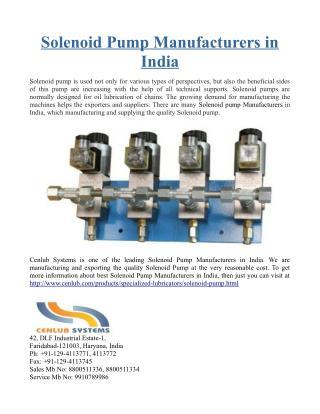 Solenoid Pump Manufacturers in India