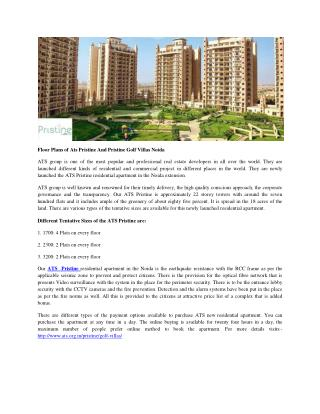 Floor Plans Of Ats Pristine And Pristine Golf Villas Noida