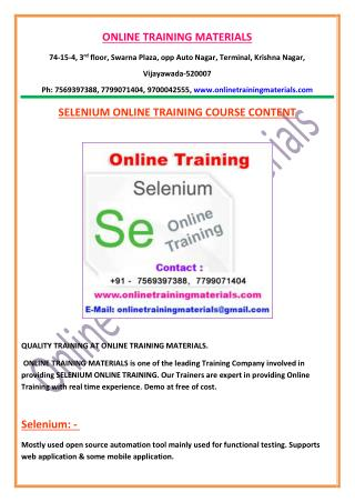 Selenium Online Training From India