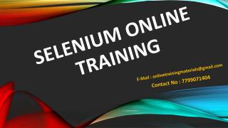 Best Selenium Online Training From Hyderabad|India|