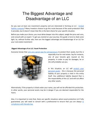 The Biggest Advantage and Disadvantage of an LLC