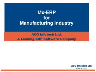 Mx-ERP for Manufacturing Industry