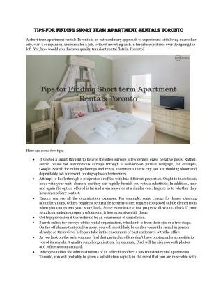 Tips for Finding Short term Apartment Rentals Toronto