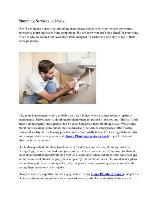Plumbing Services in Nasik