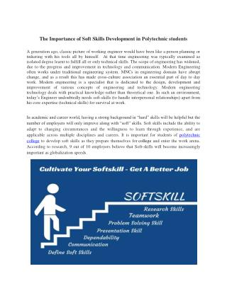 The Importance of Soft Skills Development in Polytechnic students