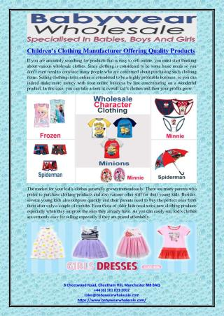 Children's Clothing Manufacturer Offering Quality Products