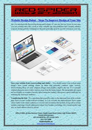 Website Design Dubai – Steps To Improve Design of Your Site